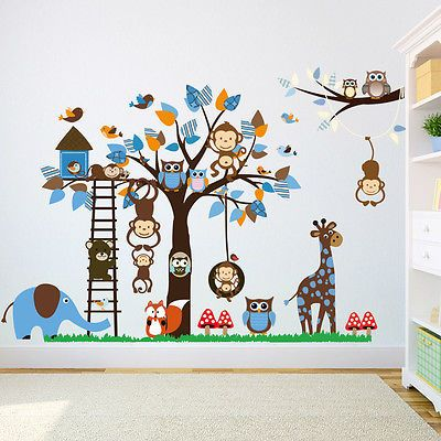 Popular Details zu Wandtattoo Wandaufkleber Kinderzimmer Tiere Wandsticker Affe Elefant Premium XXL