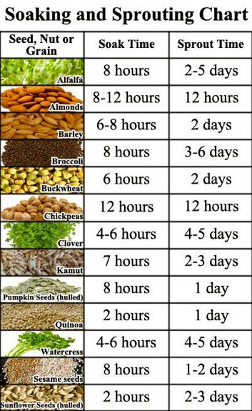 sprouting chart - how wonderful sprouts and microgreens can be. Yum. For yummy healthy microbes visit #BrewBiotics on FB.