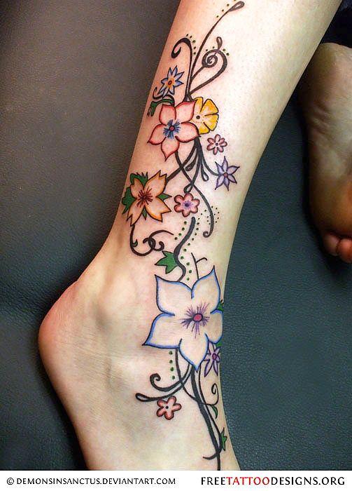 Gorgeous! flower tattoo | nature tattoo | ankle tattoo | foot tattoo