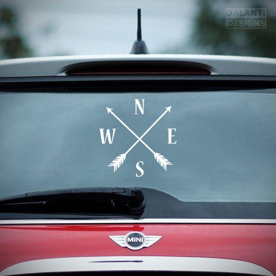 Compass Vinyl Sticker Wall Sticker Arrow Car Decal Nesw Laptop