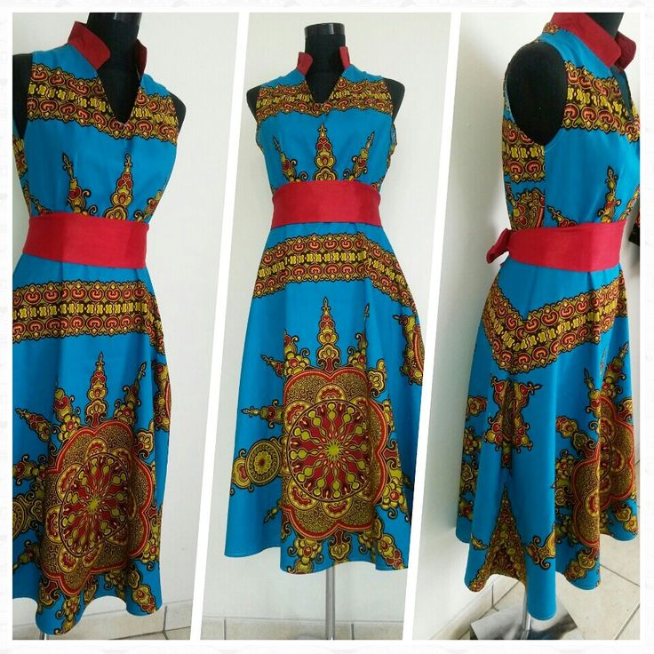 Ya ke midi dress.Blue african print.