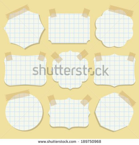 Shapes of note paper with tape. Vector illustration. - stock vector