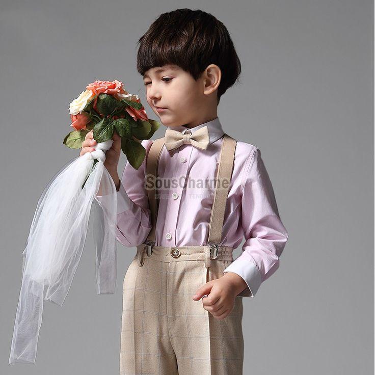 Ensemble cérémonie garçon d'honneur mariage pas cher couleur champagne rayure carrée avec 4 pièces