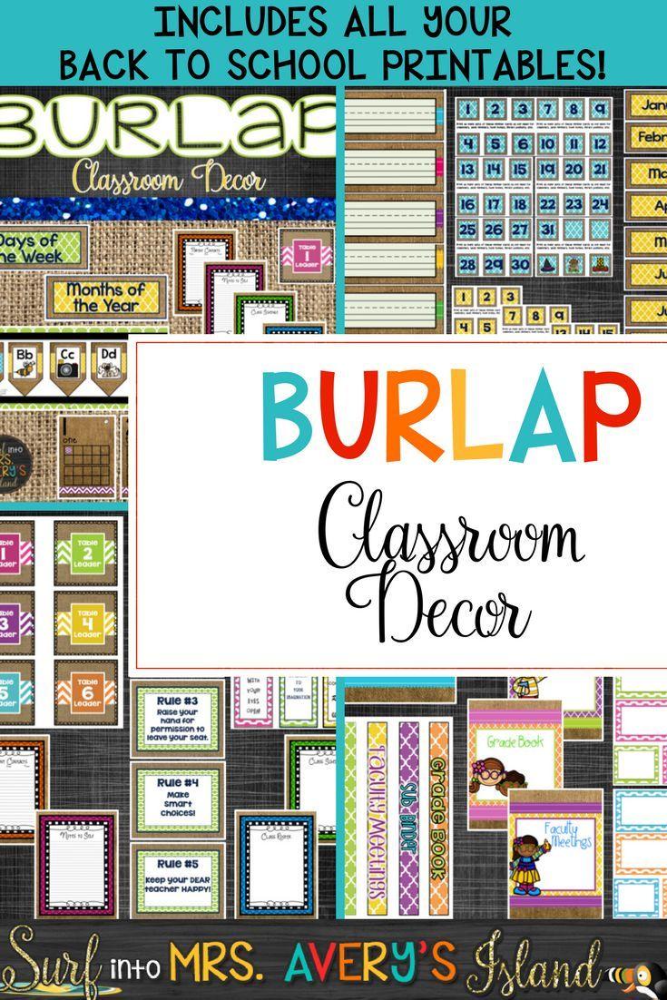 Classroom Decor Bundles ~ Back to school burlap classroom decor bundle editable