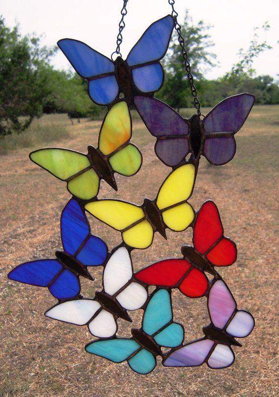 Stained Glass Butterflies by LedByGlass on Etsy, $70.00