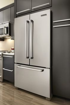 Kitchenaid Counter Depth Refrigerator In Kitchen Modern