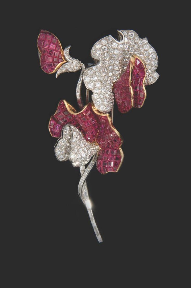 Ruby, Diamond and Platinum 'Sweet Pea' Brooch, circa 1950, by Verdura
