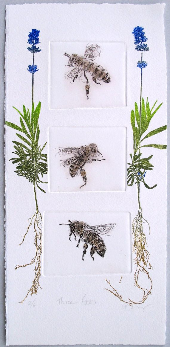 Three honey bees with lavendar. Drypoint by LynnBaileyPrintmaker