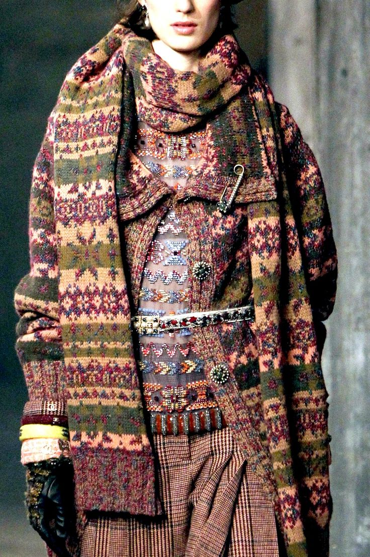 Layered Fair Isle patterns and tweed; Chanel