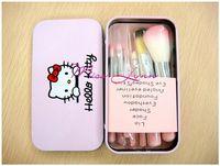 2014 CALIENTE !! 7 pcs Profesional pincel de maquillaje herramientas de maquillaje conjunto de Tocador Kit Lana Marca Maquillaje juego de brochas Caso