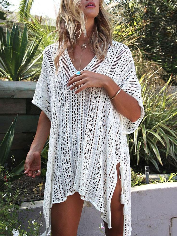 Stylish See Through Fishnet Side Slit Beach Cover Up