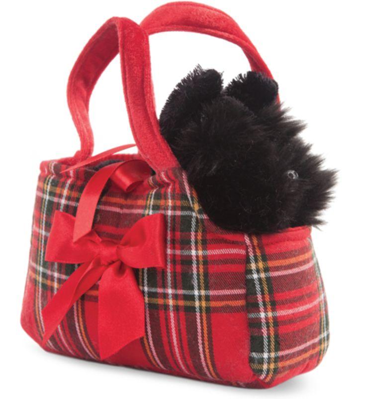 Aurora World Fancy Pal Scottie Dog/Scottish Terrier Soft Plush Toy in Tartan Red Bag