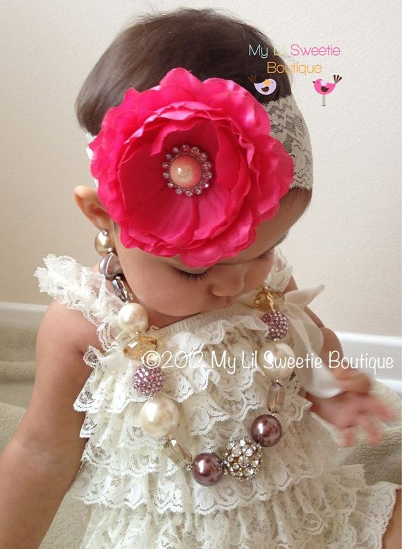 Ivory Vintage Lace Petti Romper  Baby Girl by MyLilSweetieBoutique, $19.95