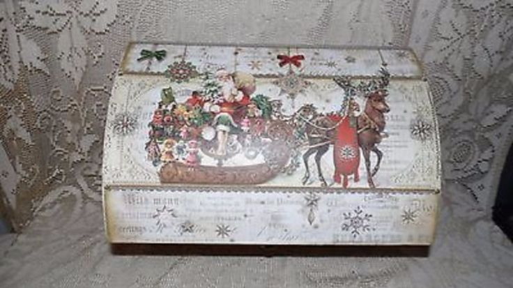 HOLIDAY SANTA/REINDEER/SLEIGH ORNAMENT STORAGE BOX TRUNK VICTORIAN LOOK NEW! #PunchStudio