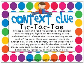 Classroom Freebies: Context Clues Tic-Tac-Toe Game