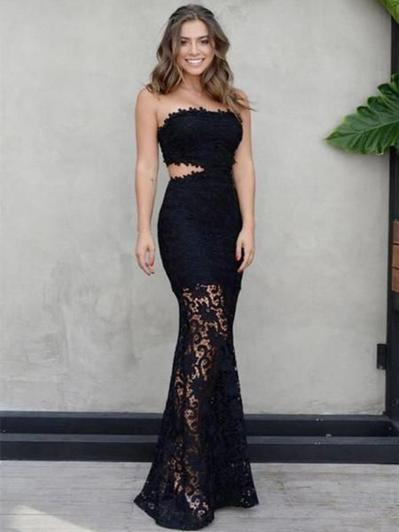 c7977ee1c17 Strapless Mermaid Floor Length Sexy Prom Dress with Black Lace Appliques in  2019