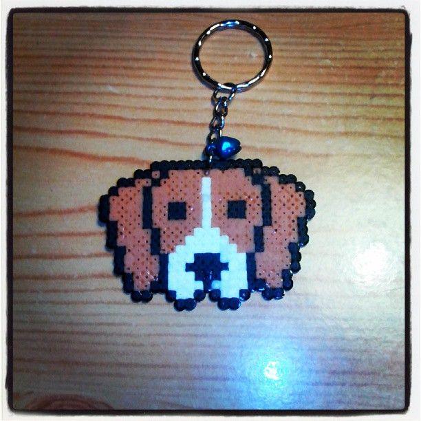 Dog keychain hama beads by mel_pixelart
