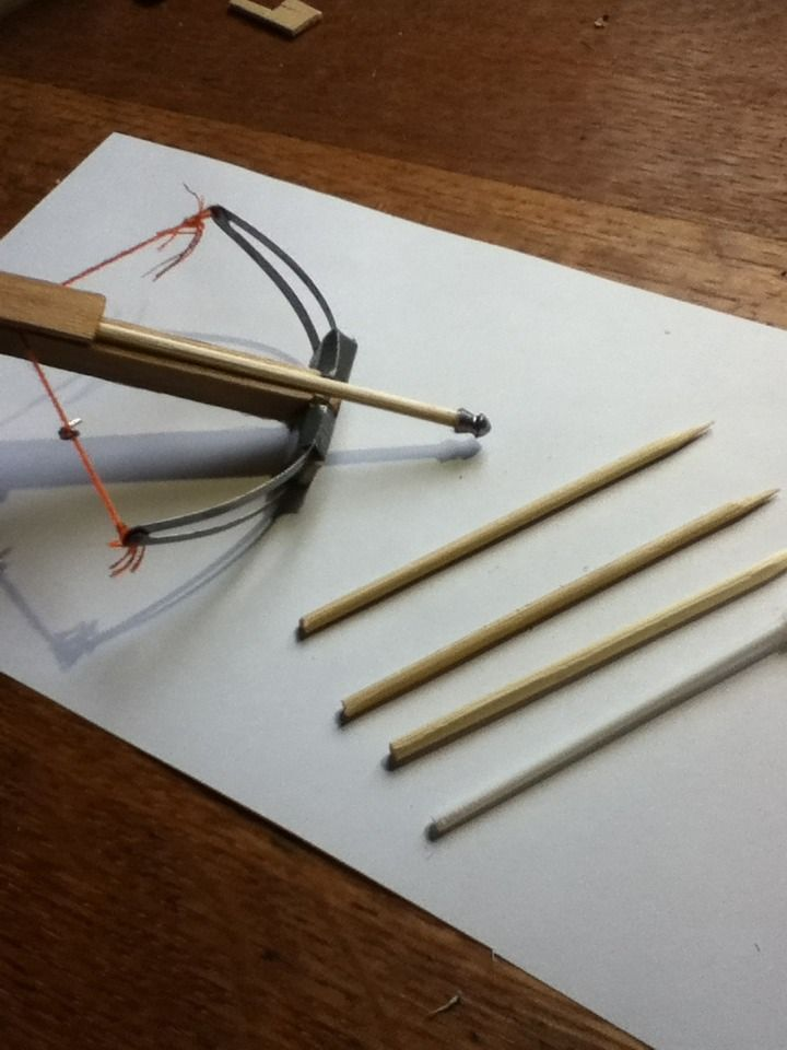 micro crossbow with popsicle sticks, metal hair clips, embroidery thread