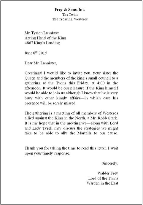 Printable Sample Proper Business Letter Format Form
