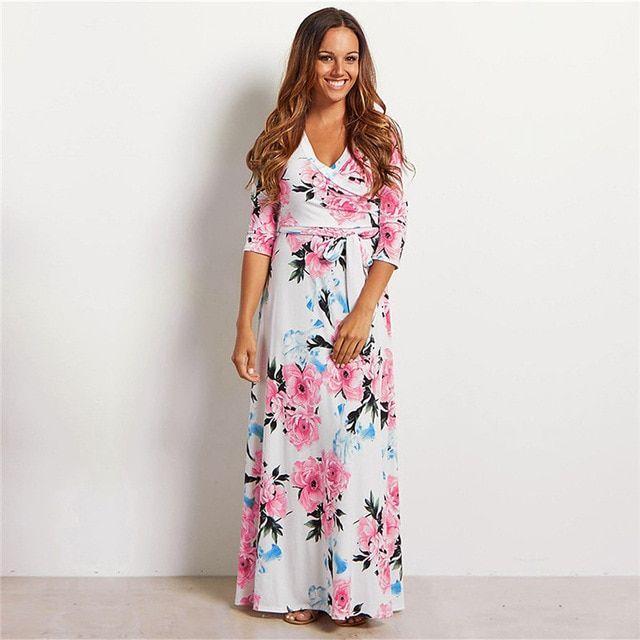 Women summer floral print maxi dress boho long beach dress evening party long bandage bodycon dress plus size vestidos 2