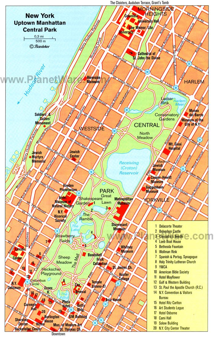 Central Park New York Map Pdf.Map Of Uptown Manhattan And Central Park Planetware Vacation