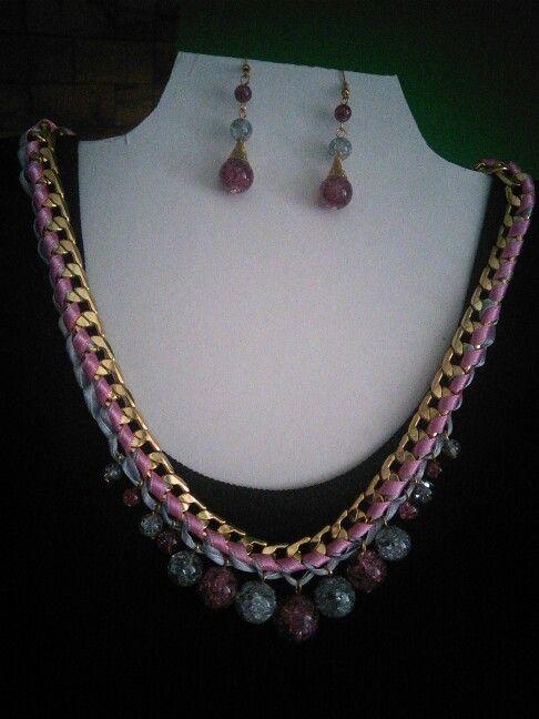 Súprava náhrdelník a náušnice, farba zlatá, ružová, sivá