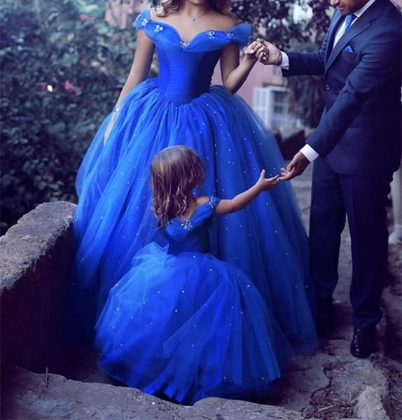 Royal Blue Sparkle Off Shoulder Ball Gown Wedding Dresses, Flower Girl Dresses, PD0294