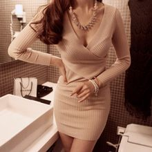New 2014 sexy v-neck long sleeve women knitted sweater dress winter crochet jumpers bodycon casual dresses brand wool pullovers(China (Mainland))