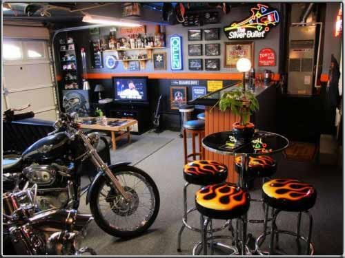 Motorcycle Man Cave Inside A 2 Bay Garage With 2 Motorcycles. Features  Entertainment Area