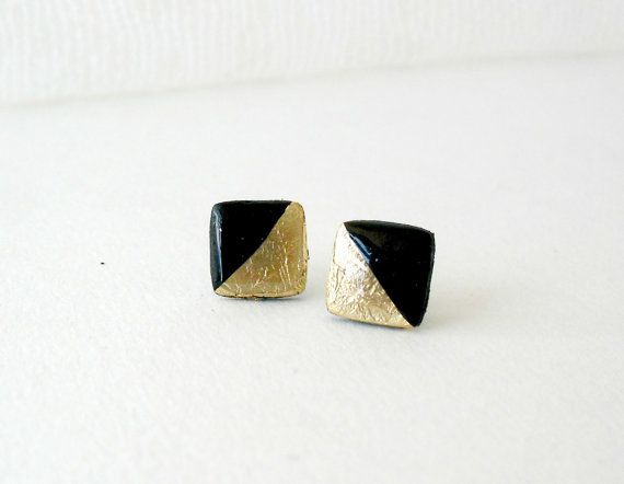 Black and gold square post earrings Elegant by DivineDecadance
