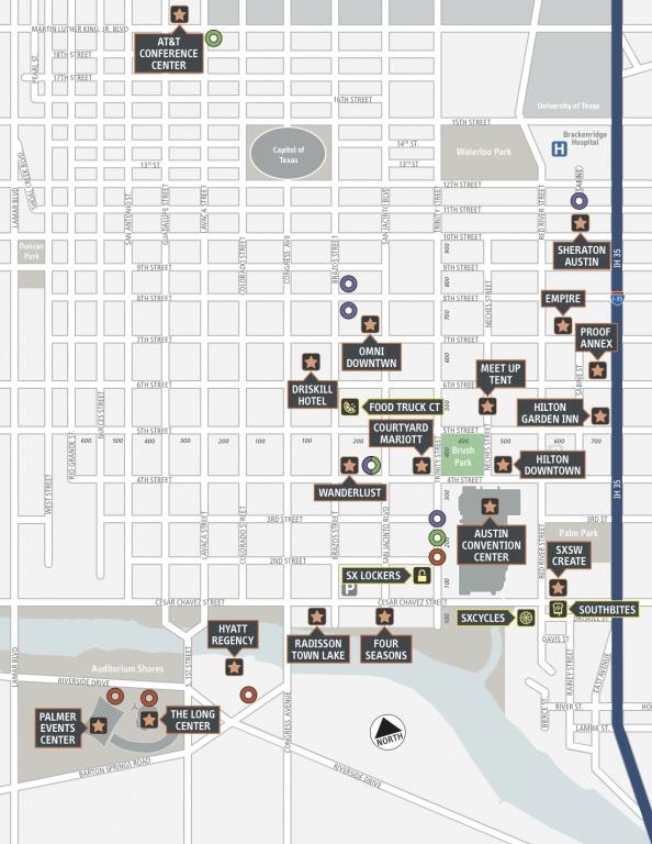 SXSW Interactive 2013 venues map