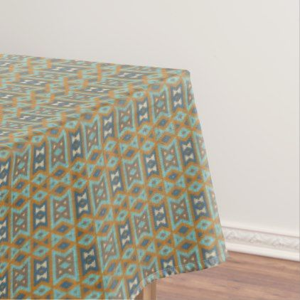 Teal Turquoise Orange Brown Eclectic Ethnic Look Tablecloth - modern gifts cyo gift ideas personalize