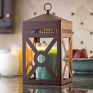 """This rustic brown lantern can go modern or country. A soft halogen bulb creates a warm glow of light through the geometric shapes. Uses our patented top down warming technology with your favorite scented candle.   Lantern includes warming bulb Lantern Warmer Details:  ⦁Length: 6"""" ⦁Width: 6"""" ⦁Height: 12"""" ⦁Electrical Rating: 120V, 60Hz, 25W ⦁Bulb Type: NP5 ⦁Switch Type: Rocker Switch ⦁Candle Space Height: 7"""" ⦁Fits most 22oz Candles"""