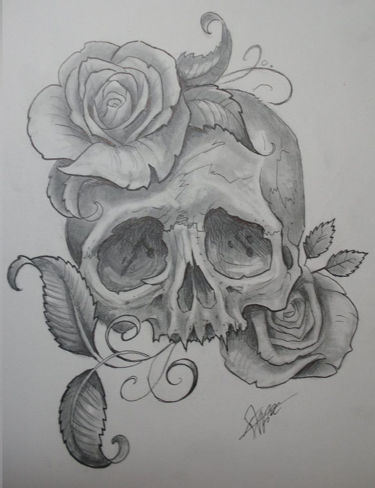 skull with roses by JWheelwrighttattoos...this would be a cute hip tat add a gun under the skull maybe
