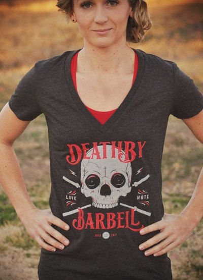 CrossFit Women's Death By Barbell Deep V TShirt by LevelOneApparel, $25.00