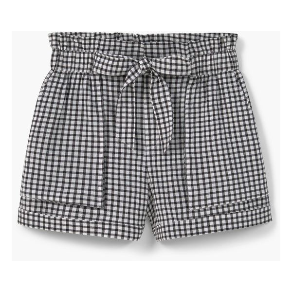 MANGO Check Cotton Shorts featuring polyvore, women's fashion, clothing, shorts, bottoms, pants, elastic waistband shorts, bow shorts, mango shorts, checkered shorts and cotton shorts
