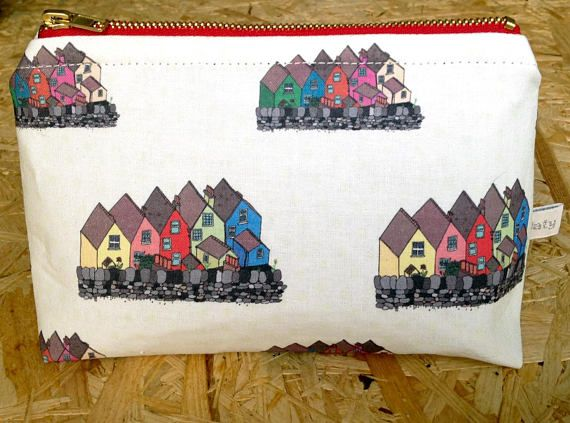 Handmade Colourful houses of Cobh Ireland small cosmetic bag