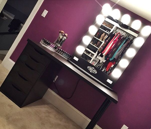 Makeup corner dark wall/black vanity by @breprice on IG featuring her #blackbroadway table top $399