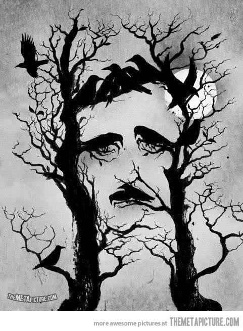 Edgar Allen Poe's The Raven tree face-------He's just a poe poor from a poe family!