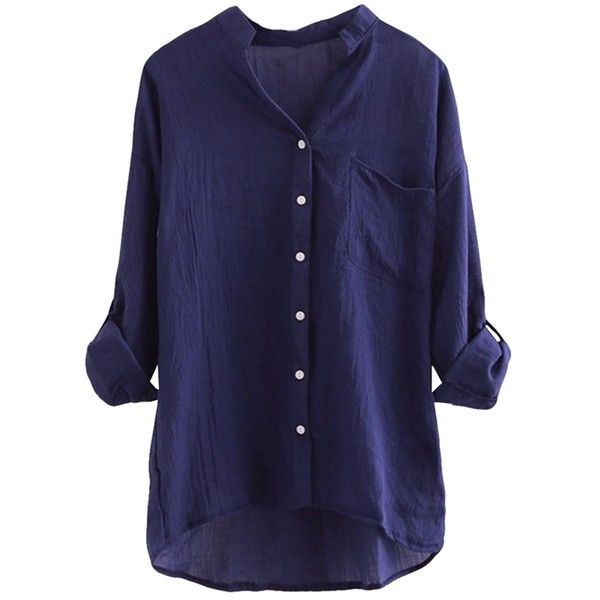 Navy Blue Stand Collar Plain Button Three Quarter Sleeve Ladies Blouse (185.440 IDR) ❤ liked on Polyvore