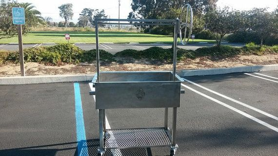 Stainless steel Santa Maria BBQ grill wood by JDfabrications