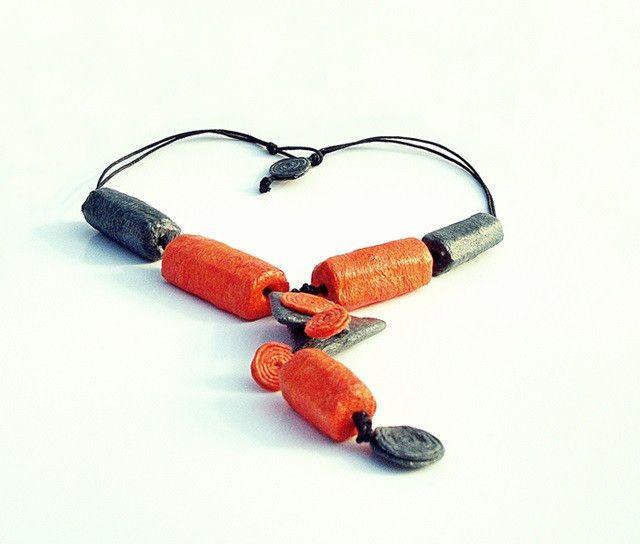 orange roll - necklace