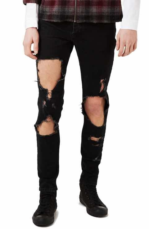 Topman Extreme Ripped Stretch Skinny Fit Jeans
