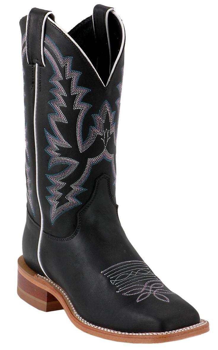 Justin® Bent Rail™ Ladies Black Punchy Wide Square Toe Double Welt Cowboy Boots