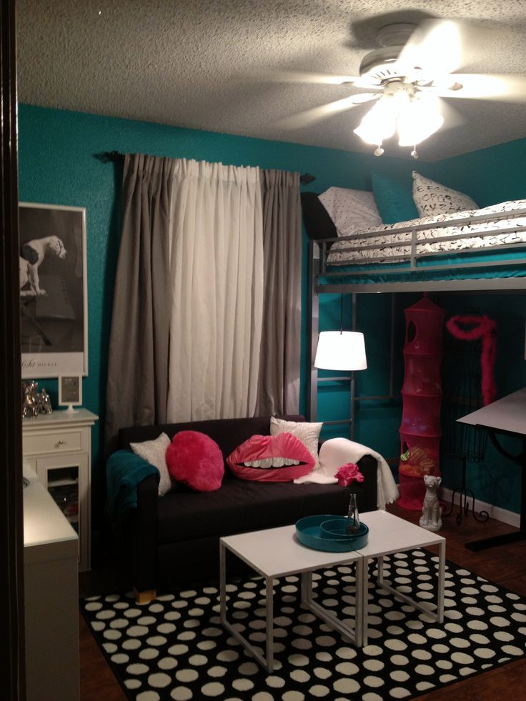 Teen room, tween room, bed room concept, loft mattress, black and white, teal, turquoise, scorching pink, trendy bed room. >> See more at the photo link