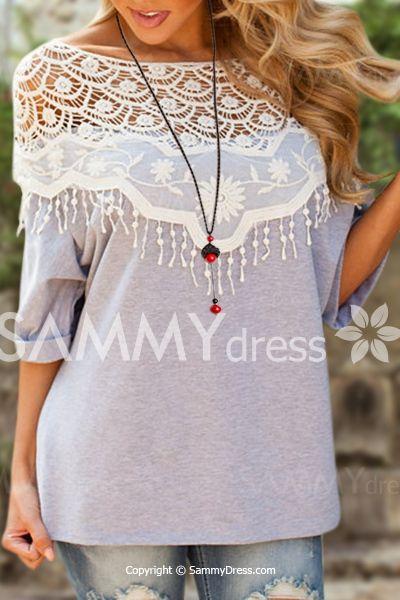 Lace Cutout Shirt Women Handmade Crochet Cape Collar Batwing Sleeve T-Shirt