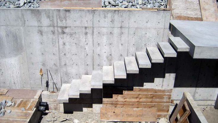 Exterior Concrete Cantilevered Stair Elevation View Arq