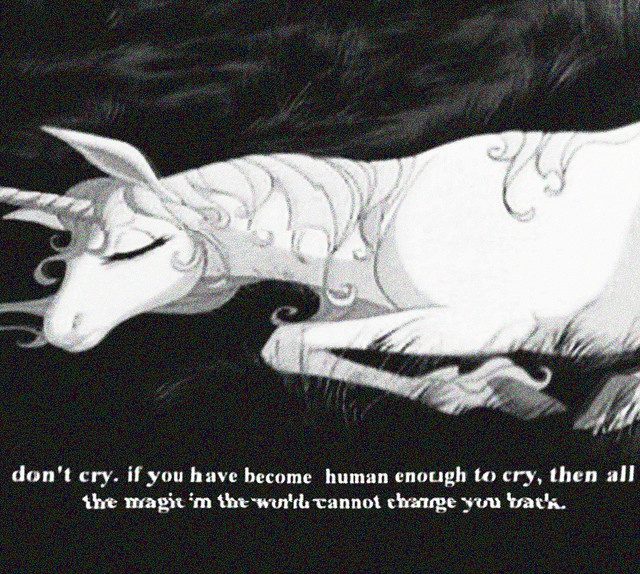 """If you have become human enough to cry then all the magic in the world cannot change you back."" The Last Unicorn"