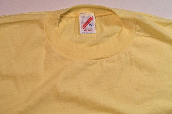 80s Deadstock Blank Jerzees T Shirt canary by JaybrrdsWhatnots #deadstock #80stshirt