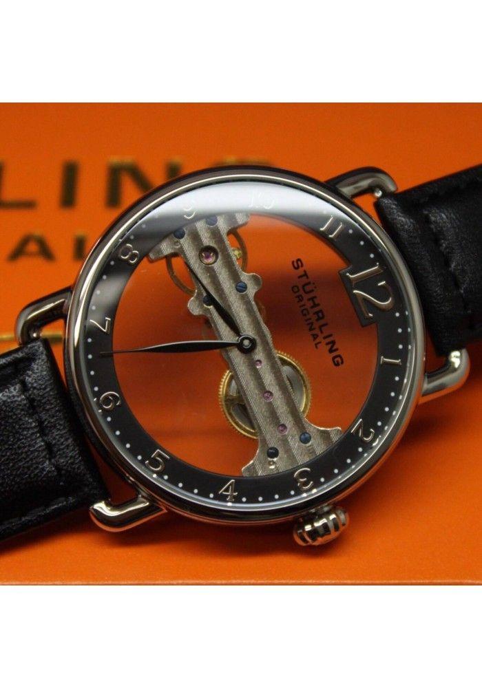 e5c0fae1e09a2 Relógio Masculino Importado Movimento Corda Pulseira de Couro Stuhrling  Original cod97601